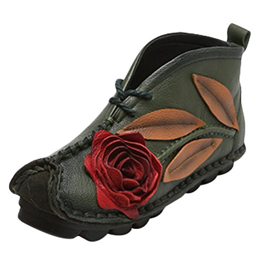 Mordenmiss Women's Ethnic Unique Emobossed Rose Sweet Ankle Bootie Street Lace Flat 39 Fleece Green