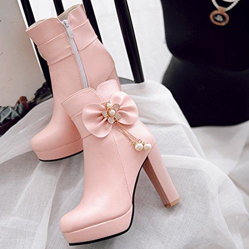 Eleganti Eleganti Tacco Boots Boots Fiocco Alto YE Laterale Donna 10cm Spillo con Ankle Fiori Decorativi Rosa Plateau Cerniara con Scarpe e Belli Stivaletti e a wEwUqrcFO1