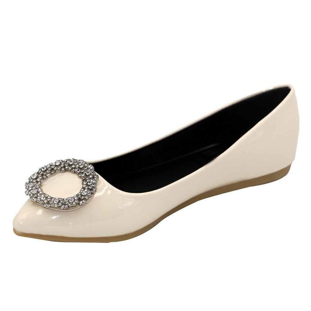 AalarDom Women's Patent Leather No-Heel Pointed-Toe Pull-On Flats-Shoes Glass Diamond, Beige, 40