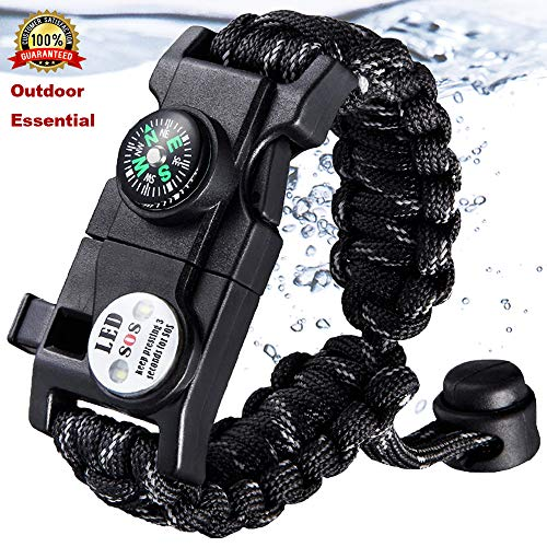 Paracord Bracelet Survival Kit for Women or Men with Waterproof SOS LED Light Emergency Knife Whistle Compass Thermometer Fire Starter for Camping Hiking -