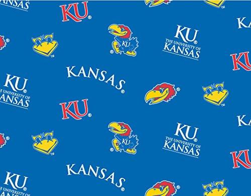 College University of Kansas Jayhawks Blue Fleece Fabric Print By the Yard sks035s