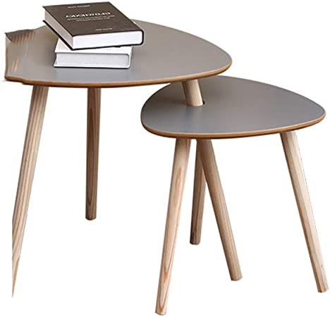 Table XIA Juego de 2 mesas Nido Mesas de Centro Mesas Laterales con Patas de Madera Color Blanco Gris de Madera (Color : Gray): Amazon.es: Hogar