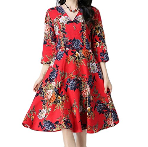 V Style Fit 4 Dress Coolred Womens Relaxed Party 3 Red Neck Sleeve Print Folk qgFFXE