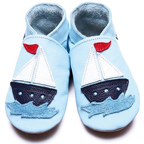 Inch Blue Jungen Schuhe für den Kinderwagen aus luxuriösem Leder - Weiche Sohle - Segelboot Hellblau