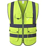 XIAKE 8 Pockets Class 2 High Visibility Safety Vest Reflective, Zipper Front, ANSI/ISEA Standards, Neon Yellow, X-Large
