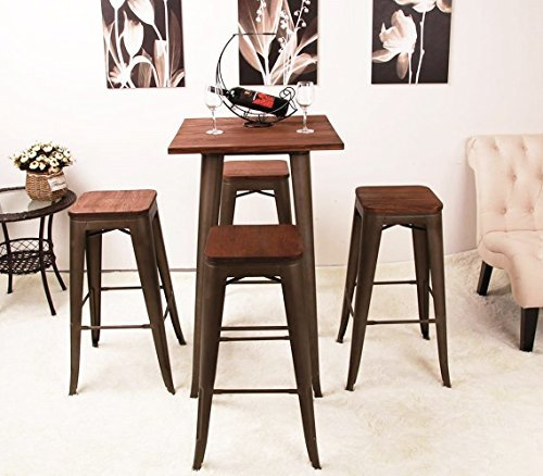 High Backless Metal Bar Stool for Indoor-Outdoor Kitchen Counter Bar Stools Set of 4 Bronze Metal with Wood Seat by Changjie Furniture (Image #5)