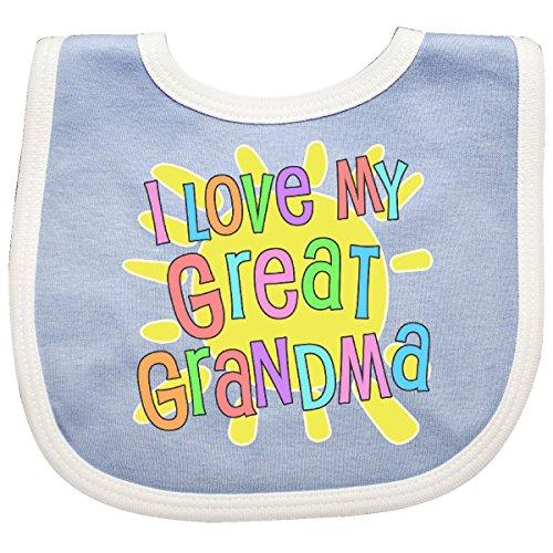 (Inktastic - I Love My Great Grandma- Sun and Rainbow Baby Bib Blue/White 300df)