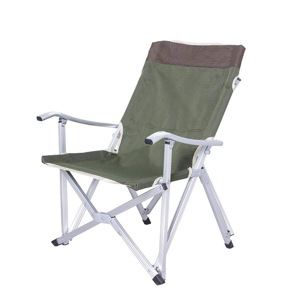 Folding Oxford Cloth Beach Chair Ultra Light Aluminum Fishing Chair self-Driving Camping Chair-Green
