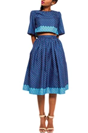 6531c4ba9 OLUOLIN Womens Sexy 2 Pieces Dress Polka Dot Printed 1/2 Sleeve Crop Tops  A-line Long Skirts Party Clubwear Outfits Set at Amazon Women's Clothing  store: