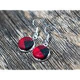 Buffalo Plaid Drop Earrings for Women red plaid silver dangle earrings