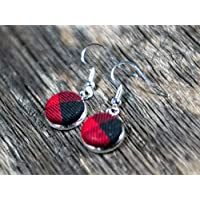 Buffalo Plaid Drop Earrings for Women red plaid silver dangle earrings