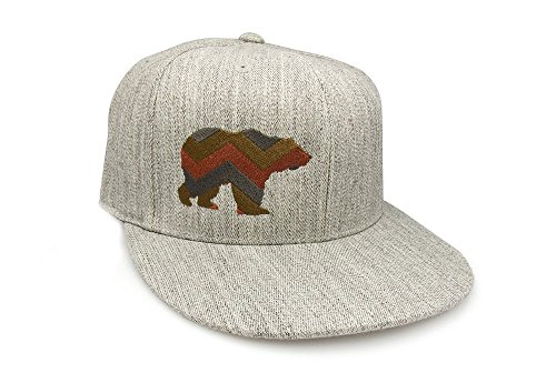 Men's Baseball Hat - Chevron Bear Illustration - Men's Fitted & Snapback Options Available