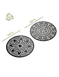 Placas de metal VAVA con 2 círculos, fuerte adherencia, material de hierro antioxidante, Negro