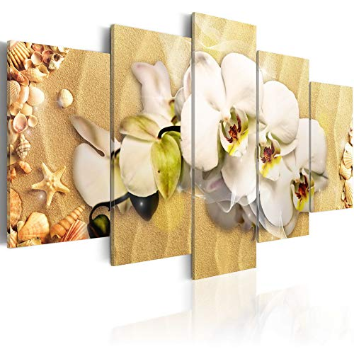 (Beach and Orchid Canvas Wall Art Modern Flower Print Painting 5 Panels Picture Floral Artwork White and Yellow Home Decor Framed Ready to Hang (Small W40