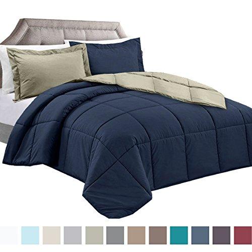 Navy Sage - Clara Clark Goose Down Alternative Reversible Comforter Set Includes 1 Pillow Sham, Twin, Navy Blue/Sage Green, 2 Piece