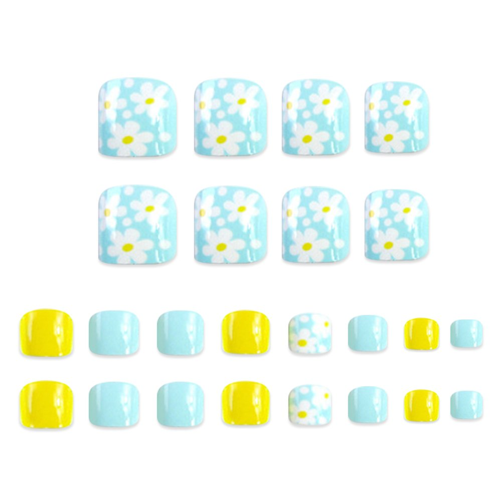 24Pcs Foot False Nail Tips Cute Fake Toes Nails Toe Art Tool Women Summer Gift