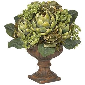 Nearly Natural 4635 Artichoke Centerpiece Silk Flower Arrangement, Green 89