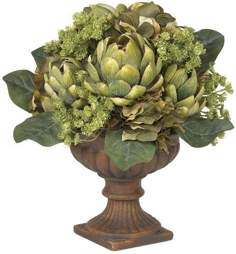 Nearly Natural Silk Artichoke - Nearly Natural 4635 Artichoke Centerpiece Silk Flower Arrangement, Green