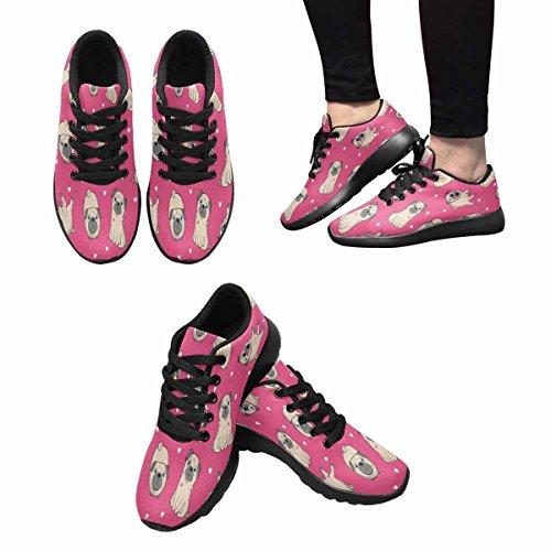 Scarpa Da Jogging Leggera Da Donna Running Running Leggera Easy Go Walking Casual Comfort Scarpe Da Corsa Illustrazione Di Pugs Multi 1