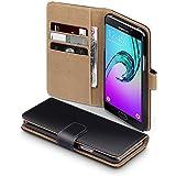 2016 Galaxy A5 Case, Terrapin Handy Leder Brieftasche Case Hülle mit Kartenfächer für Samsung Galaxy A5 2016 Hülle Schwarz mit Hellbraun Interior