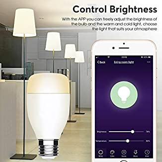 Bombilla WiFi,Inteligente Smart LED WiFi Lámpara E27 7W, Control Remoto Dispositivo Inteligente Bulbo,Compatible Alexa Google Home No Se Requiere Hub