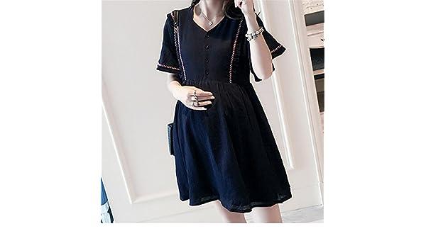 KDHJJOLY Comfortable Maternity Clothes Summer V Neck Pregnancy Dress New Linen Button Premama Loose A Line Short Sleeve Gravida Vestidos Embarazadas navy ...