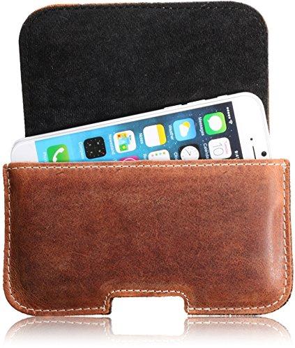 Echt Leder Handytasche von Matador Tasche Case Hülle Gürteltasche Quertasche für Apple iPhone 5 in Antik Konjak Vintage Style mit verdecktem Magnetverschluß und Gürtelschlaufe