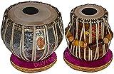 Mukta Das Concert Tabla Drum Set, Ganesha Chrome Tabla Copper Bayan, Finest Dayan with Padded Bag, Book, Hammer, Cushions & Cover (PDI-AEA)