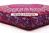 Krati Exports Indian Daybed Big Seating Peacock Mandala Floor Pillow Cover Pouf Cushion Case Bohemian Ottoman Meditation Throw Large By (Dark Purple Pink)