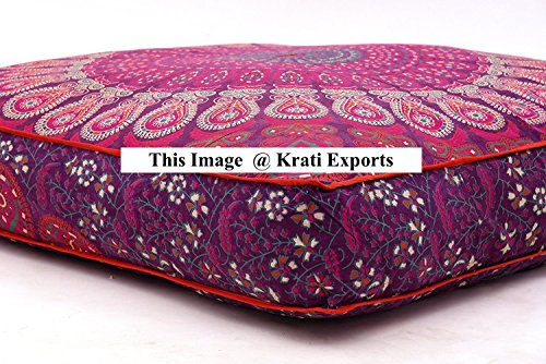 Krati Exports Indian Daybed Big Seating Peacock Mandala Floor Pillow Cover Pouf Cushion Case Bohemian Ottoman Meditation Throw Large By (Dark Purple Pink) by Krati Exports