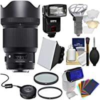 Sigma 85mm f/1.4 ART DG HSM Lens with USB Dock + Flash + 2 (UV/CPL) Filters + Soft Box + Diffuser Bouncer + Kit for Nikon Digital SLR Cameras