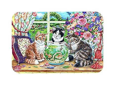 Compra Caroline tesoros de gatos Just Looking en la pecera de cristal tabla de cortar, tamaño grande, Multicolor en Amazon.es