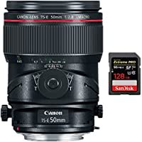 Canon TS-E 50mm f/2.8L Macro Tilt-Shift EF-Mount Lens (2273C002) with Sandisk Extreme PRO SDXC 128GB UHS-1 Memory Card