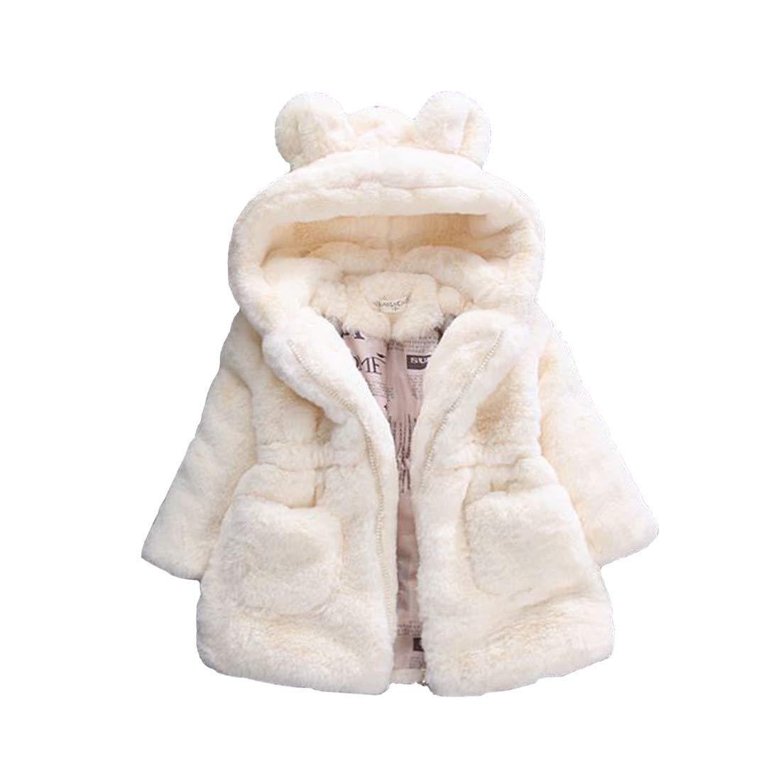 DorkasDE M/ädchen Mantel Winterjacke Kunstpelz Jacke Fellmantel Warm Jacke mit Kapuze