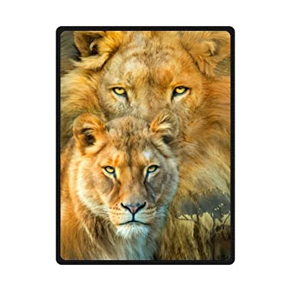 Cool Lion Couple Animal Art Printed Blanket Sumptuously Plush Lap Warmer Winter Blankets Throw Bedspread 58quot