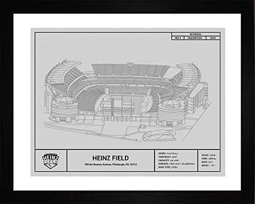 Pittsburgh Steelers Heinz Field Framed - Pittsburgh Steelers Heinz Field Framed Blueprint Wall Art