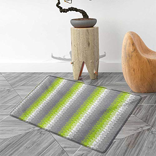 Abstract Floor Mat for Kids Wavy Stripes Pattern with Colorful Vertical Shapes Mosaic Digital Composition Door Mat Increase 5'x6' Multicolor