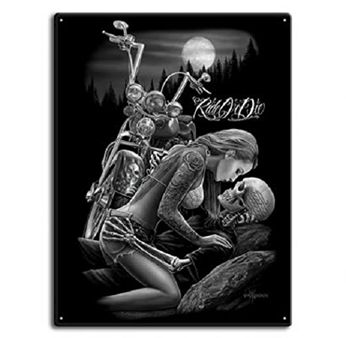 DGA Day of the Dead Ride or Die Motorcycle Lovers Tin Metal Sign 12x16 -