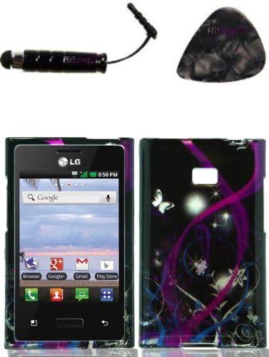 Funda para accesorios LG 35 g Logic VS410 Optimus Zone morado sueño caso diseño de pantalla diseño de la carcasa rígida placa frontal y HiShop (TM) Stylus, púa de guitarra/herramienta de palanca: