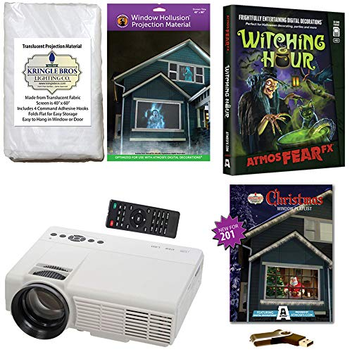 AtmosFearFx Christmas and Halloween Digital Decoration Kit Includes 1200 Lumen Projector, Hollusion (W) + Kringle Bros Rear Projection Screens, Christmas Compilation (USB) & Witching Hour (DVD) -