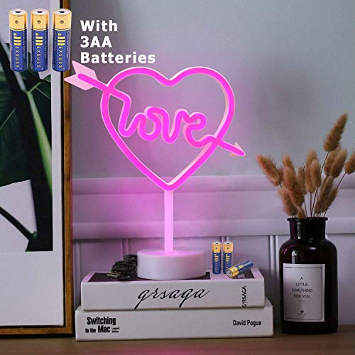 HONGM Heart Shape LED Neon Night Light with Base Pink Decorative Light Battery Powered/USB Table Lamp for Kids Room Holiday Party Decorative ()