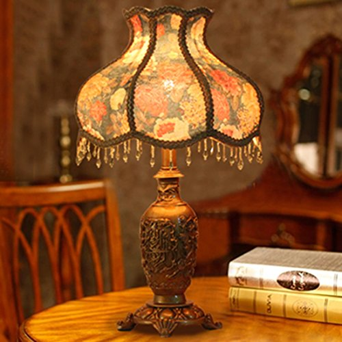 (PINCHU LED Fashion Bedside Table Lamp Royal Vintage Resin Wedding Gift Living Room Lamp,B)