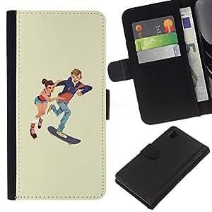 YiPhone /// Tirón de la caja Cartera de cuero con ranuras para tarjetas - Patinaje niños - Sony Xperia Z1 L39