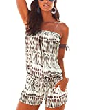 Fantasy Star Women's Sexy Off Shoulder Swimsuit Blue and White Geometric Pattern Strapless Romper Beach Short Jumpsuit Romper Khaki