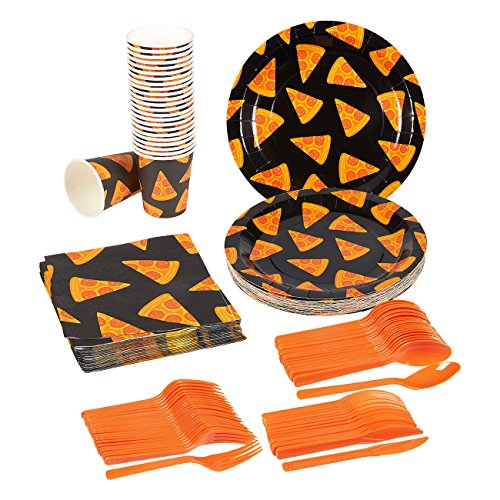 Pizza Party Supplies - Disposable Dinnerware Set - Serves 24 - Includes Plastic Knives, Spoons, Forks, Paper Plates, Napkins, Cups, Black, Orange