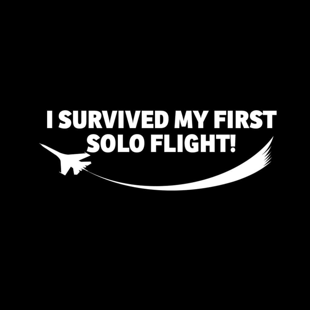 I Survived My First Solo Flight Pilot Decal White Choose Size