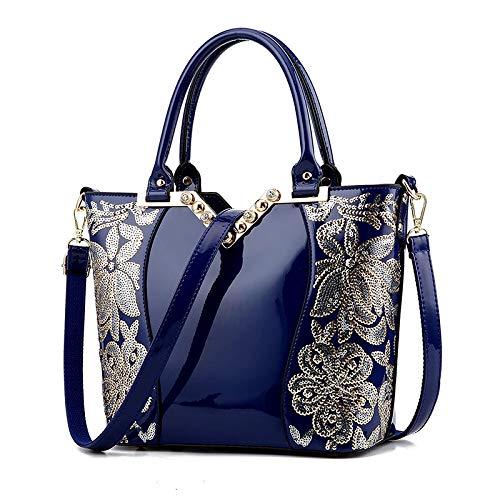 FLHT, Borsa Femminile, Borsa Da Donna In Pelle PU Moda Grande Capacità Borsa A Tracolla Borsa Da Viaggio Borsa Da Viaggio Cosmetici Borsa Shopping Bag In Pelle Borsa A Secchiello Di Lusso Blue