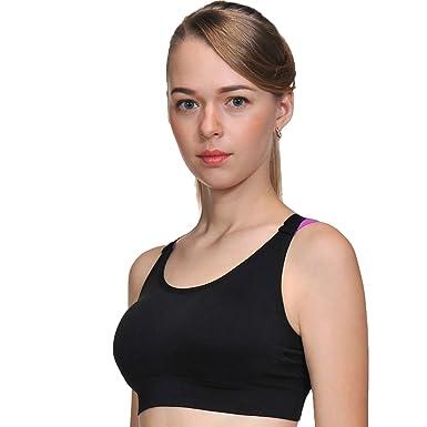ACtex Femmes Bonbons Yoga Soutien-Gorge Stretch Strap Moyen Impact Sport  Bras Racer Retour avec Pads Amovibles Coupe Transparente Noir Moyen   Amazon.fr  ... 5eb7b25125e
