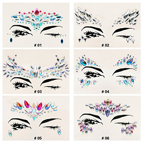 6 Sets Mermaid Body Chest Face Eyes Gems Rhinestones Jewels Crystals Jewelry Stickers Temporary Tattoo for Music Festival Party Carnival By GADGETS ENTREPOT(Pack #18)