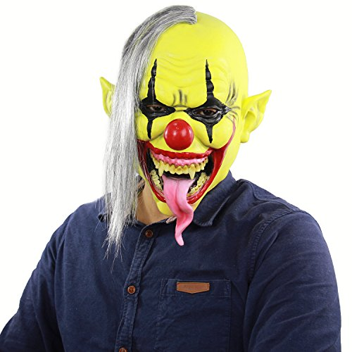 Xiao Chou Ri Ji Scary Sinister Halloween Latex Clown mask Lifelike Party Costume Role Play (Sinister Clown Costumes)